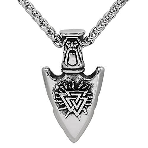 BBYOUTH Odin Gungnir Collar de Acero Inoxidable Hijos de Vikingo Valknut Amuleto Espada Colgante Cadena de 24 Pulgadas con Bolsa de Joyería