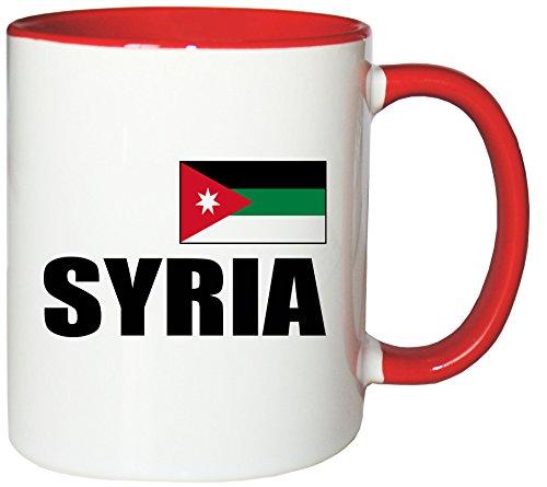 Mister Merchandise Kaffeetasse Syria Fahne Flag Teetasse Becher, Farbe: Weiß-Rot