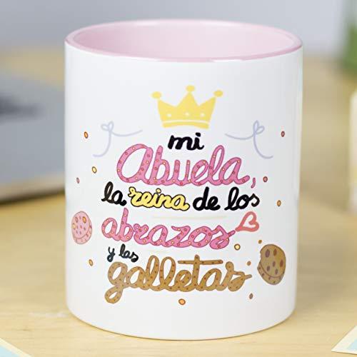 La Mente es Maravillosa - Taza frase y dibujo divertido (Mi Abuela es la reina de los abrazos y las galletas) Regalo para ABUELA