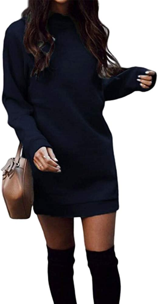 Annystore Women Long Sweatshirt Dress Long Sleeve Casual O-Neck Pullover Bodycon Mini Sweater Dress