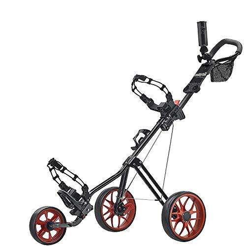 CaddyTek golf trolleys 3 rad,Golfwagen,golftrolley,Golf-cart-black mit Kugeln und 100 Tees in Set,rot
