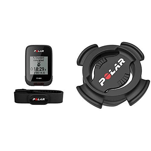 Polar M460 HR Radcomputer Black, Einheit, 90064872 & Unisex-Armbanduhr Digital Quarz Plastik Radhalterung (einstellbar) für V650