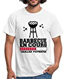 Spreadshirt Barbecue en Cours T-Shirt Homme, L, Blanc