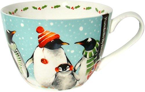 Holiday Mug by Portobello - Holiday Penguin Family Let it Snow Bone China 20 oz Coffee Cup