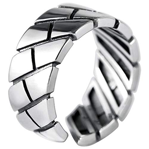 RXISHOP Hombres y mujeres 925 plata esterlina anillo abierto moda masculino índice dedo personalidad moda femenino simple pareja anillo retro plata joyería 18 #