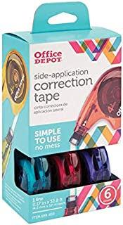 Office Depot Side-Application Correction Tape, 1 Line x 394in, Assorted Colors, Pack Of 6, 10847