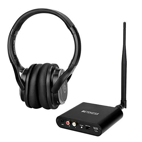 Retekess TA004 Auriculares de Audio Inalámbricos para Ver Televisión con Transmisor TA003, Auriculares de Discoteca Silenciosos, Plug n Play, sin Retardo de Audio (1 Transmisor + 1 Auricular)