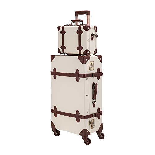 CO-Z Premium Vintage Luggage Sets 24' Trolley Suitcase and 12' Hand Bag Set with TSA Locks (12' +24' White)