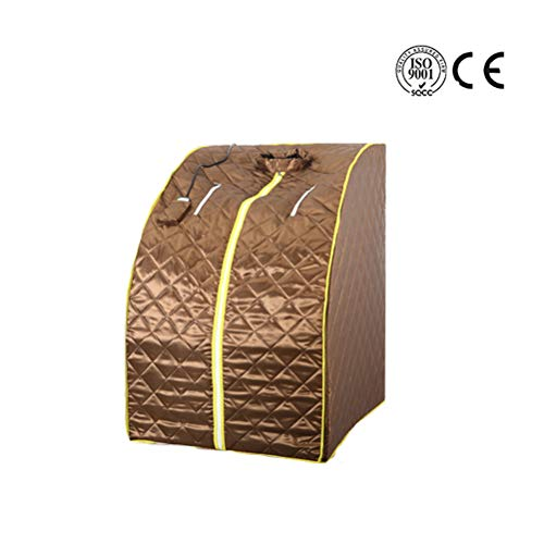 Wanforjewellery Folding Far Infrared Sauna Room, Portable Bath Steaming Room Full Body Fumigation Tent Sauna Movable Tent Equipment Large Granule Tourmaline,Brown