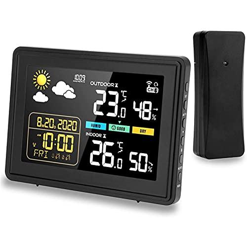 FHISD Estación meteorológica, higrómetro del termómetro Digital, estación de Tiempo al Aire Libre Interior, con un Sensor, Alarma/Snooze, Pantalla de Color, hogar, Oficina Ideal