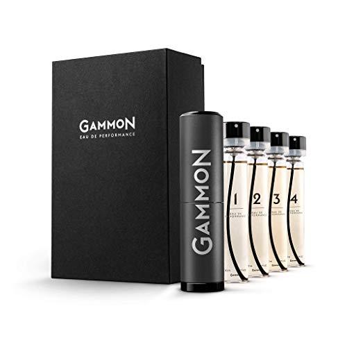 GAMMON Parfum Master-Set (4x20 ml), das Parfum Set mit allen 4 GAMMON Männer Düften in voller Größe, langanhaltendes Parfum für Herren, inkl. hochwertigem Aluminium Suit