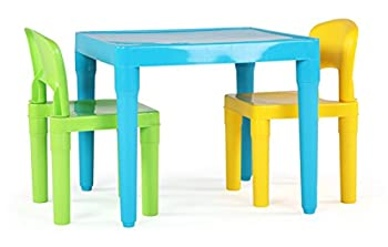 Humble Crew Aqua Table & Green/Yellow Kids Lightweight Plastic Table and 2 Chairs Set Square Toddler