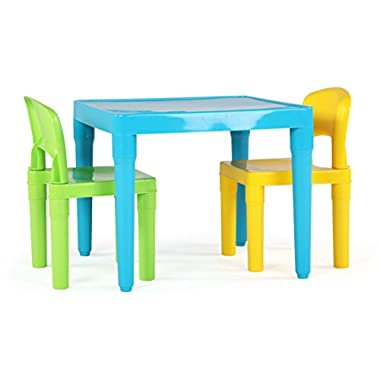 Humble Crew, Aqua Table & Green/Yellow Kids Lightweight Plastic Table and 2 Chairs Set, Square, Toddler