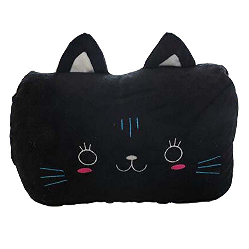 Schwarze Katze-Handwärmer Kissen kurze Plüsch Handwärmer Wederverwendbar