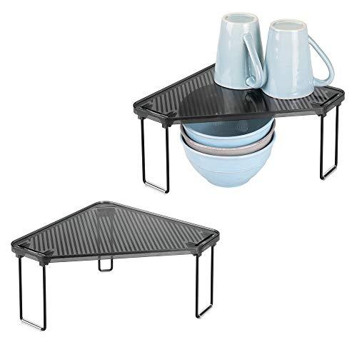 mDesign Juego de 2 estantes de cocina – Soporte para platos para encimera o interiores de armarios – Organizador de armarios de cocina, ideales para aprovechar el espacio – negro/gris humo