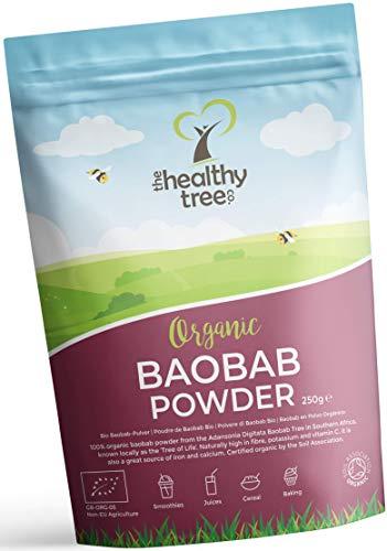 Baobab en Polvo Orgánico de TheHealthyTree Company Para Batidos y Zumos Veganos - Alto en Vitamina C, Fibra y Calcio - Baobab Puro Crudo (250g)