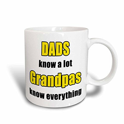 3dRose 'Dads Know a Lot Grandpas Know Everything Yellow' Mug, Ceramic,...