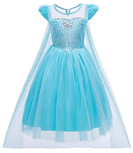 YOSICIL Ragazza Gonna Frozen Girls Dress Elsa Principessa Abito Nevi Maniche Lunghe con Capo Costume Cosplay della Principessa Partito Ragazza Vestito Maxi con Il Bello Diamante