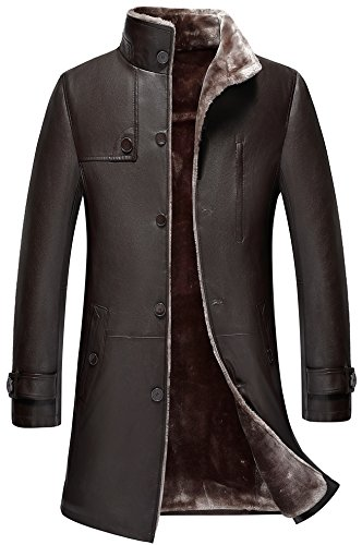 WS668 Haute Qualite Homme Longue Hiver Épais Chaud Fourrure Cuir Manteaux Parka Outdoor Trench-Coat Veste Blousons Doublure Lambswool Men's Leather Winter Fur Coat (Café Couleur, FR X-Large)