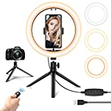 10.2'' LED Selfie Ring Light with Tripod Stand & Phone Holder - Dimmable Desk Makeup Ring Light for Photography/Shooting/Live Streaming/YouTube Video, Compatible with iPhone Android