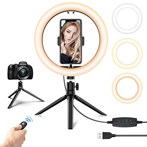10.2'' LED Selfie Ring Light with Tripod Stand & Phone Holder - Dimmable Desk Makeup Ring Light with Mirror for Photography/Shooting/Live Streaming/YouTube Video, Compatible with iPhone Android