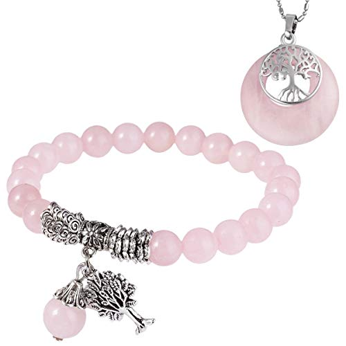 mookaitedecor Quartz Rose Perles Protection Bracelet Pierre