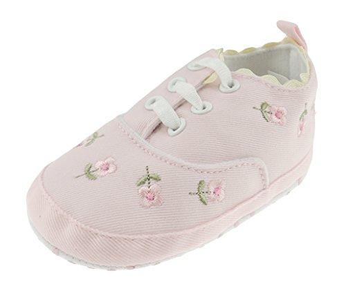 Glamour Girlz Chaussures de dressage pour bébé fille Rose anglaise brodée à lacets pour nouveau-né - 12 mois - Rose - rose, 12-18 mois