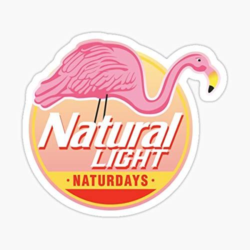Natural Light Natty Naturdays Flamingo Circle Logo Sticker - Sticker Decal - Decorative Sticker - Scrapebooks, Cars, Windows, Laptops, Waterbottles