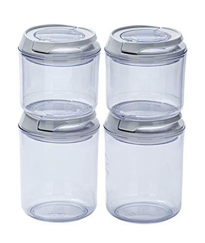 4-er Set Frischhaltedosen, Vorratsdosen Luftdicht, Behälter für die Küche, wiederverschließbarer Deckel, Aufbewahrungsbehälter, Rund, Stapelbare Dosen, Kunststoff, 2 x 0,4 Liter und 2 x 0,7 Liter