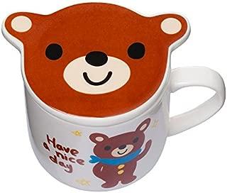 ~2 Piece Set~ Tea Cup with Lid/Kawaii Cute Brown Teddy Bear Mug Cup/Children's Cup with Lid (Teddy Bear)