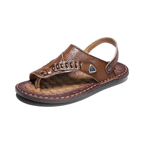 YWSZJ Sommer Echtes Leder Schuhe Männer Sandalen Handgemachte Klassiker für männliche weiche Gummi Strand Sandalias Sandale Folien (Size : 8code)