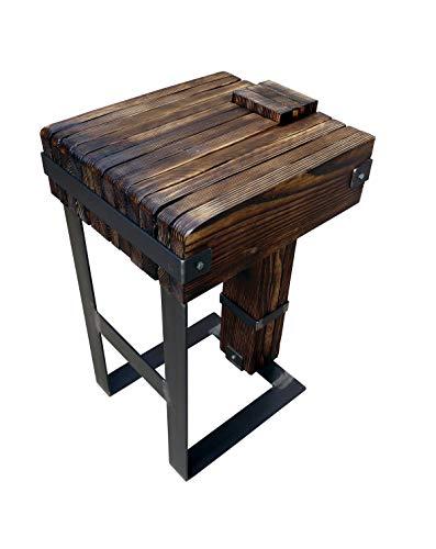CHYRKA Sgabello Tavolo da Pranzo Bar Salotto DROHOBYCZ Loft Vintage Bar IndustrieDesign Legno Metallo Vetro Lavorato a Mano (Sgabello)
