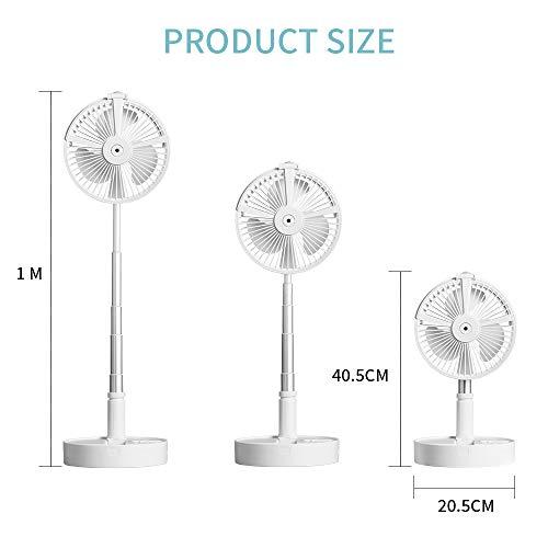 Tisch-und Standventilator,Ventilator leise Standventilator mit 4 Geschwindigkeitsstufen, 7200mAh Akku , Höhenverstellbarer und zusammenklappbar, Laden per USB