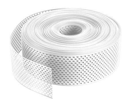 Lüftungsband/Traufgitter PVC gerollt, Weiß 80mm, 1 Rolle á 60 Meter