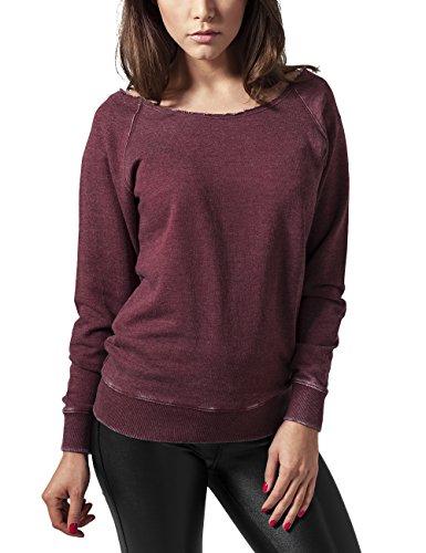 Urban Classics Damen Ladies Burnout Open Edge Crew Sweatshirt, Rot (Burgundy 606), X-Large
