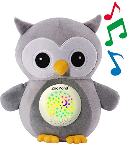 ZooPond - Baby Sound Machine, White Noise Machine Baby, Baby Soother, Crib Soother. Baby Sound Machine for Sleeping, Crib Toys with Music and Lights, Baby Sleep Aid, New Baby Gift. (Grey)