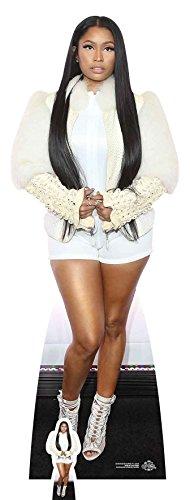 In Lebensgröße Nicki Minaj (weiß Fell Jacke) Life Größe Pappe mit Tisch Top Mini Schnitt Out, Multi Farbe