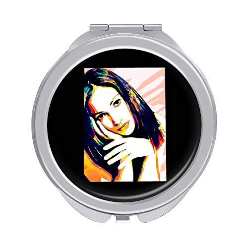 手鏡 化粧鏡,ジェニファー・コネリー Jennifer Connelly メイクミラー 携帯 折りたたみ式 コンパクト 両面鏡 角度調整可 超軽量 拡大ミラー 両面化粧鏡 携帯用化粧用具 丸型 両面コンパクトミラー