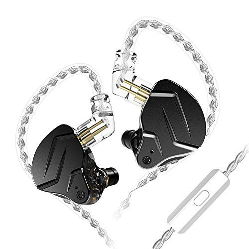 KINBOOFI KZ ZSN PRO X in Ear Earphone 1BA 1DD HiFi Bass Earbuds Headphone, Noise Cancelling Headset Metal IEM with Removable C Pin Cable (Black with Microphone)