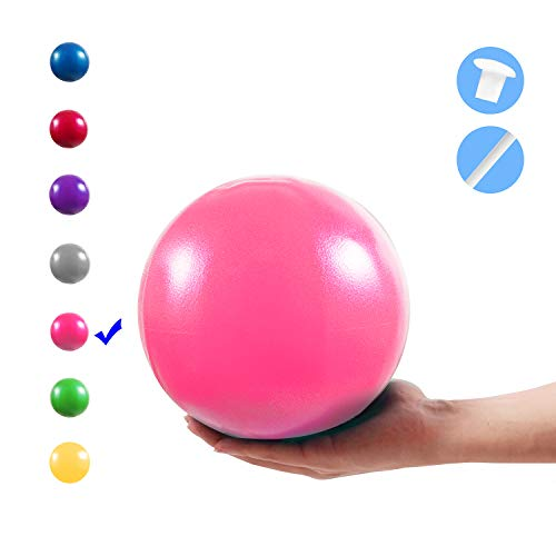 Vaupan Mini Exercise Ball, 9 Inch Small Gym Ball with Inflatable Straw for Yoga, Pilates, Stability, Barre, Physical Therapy, Stretching and Core Training, Improves Balance, Strength (Pink)