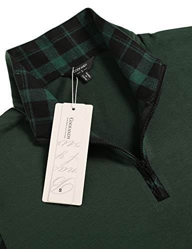COOFANDY Men's Long Sleeve Polo Shirts Casual Slim Fit Zipper Plaid Polo T Shirts (XL, Green)