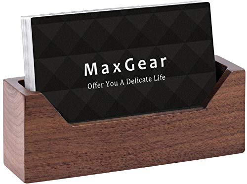 MaxGear Wood Business Card Holder for Desk Business Card Display Holder Desktop Business Card Stand for Office,Tabletop - Rectangle with Wide Open Design