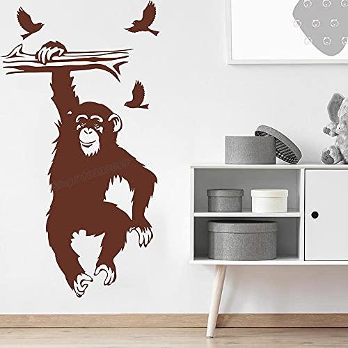 Zdklfm69 Adhesivos Pared Pegatinas de Pared Dibujos Animados Mono Rama pájaros Mono Selva Animal Bosque Naturaleza Mono Vinilo niños habitación decoración 103x56cm