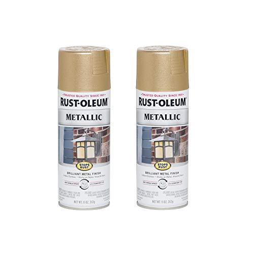 Rust-Oleum 286524-2PK Stops Rust Metallic Spray Paint, 2 Pack, Warm Gold, 2 Pack