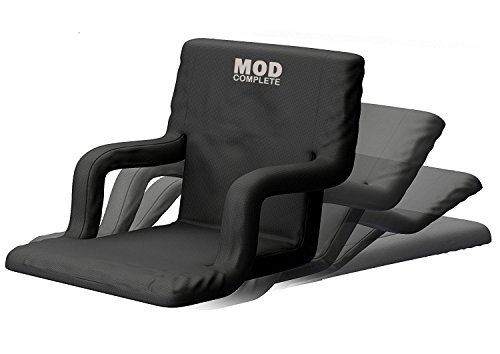 MOD Complete Wide Stadium Seat Chair for Bleachers or Benches - Enjoy Padded Cushion Backs and Armrest Support - 6 Reclining Custom Fit Sport Positions - Portable with Easy to Carry Backpack Straps