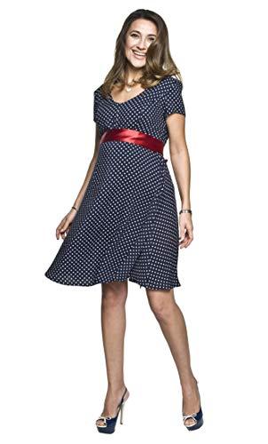 Torelle Maternity Wear Umstandskleid elegant Sommerkleid mit kurzen ärmeln/Stillkleid, Modell: DOTS, dunkelblau, Größe XL