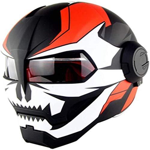 ZHXH Adult Flip Vollgesichts-Motorradhelm Vollhelm Motorrad DOT-zertifizierter Matt-Retro-Persönlichkeitshelm Offener Helm für Männer und Frauen Straßenhelm Flip-Helm (optionaler Stil)