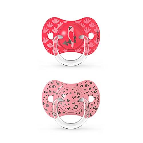 Suavinex Nuevo Pack 2x Chupetes Fisiológicos SX Pro, Para Bebés +18 meses, Chupetes con Tetina Anatómica Silicona SX Pro, Tetina más Plana y Flexible, Rosa