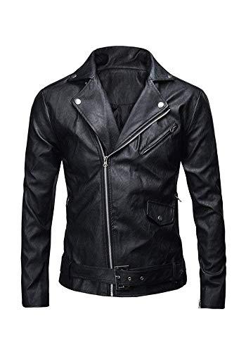 Martinad Männer Tops Herren Die Chic Faux Motorrad Style Nner Polizei Klassischen Jacke Bikerjacke Lederjacke Langarm Revers Mit Zipper Coat (Color : Schwarz, Size : L)