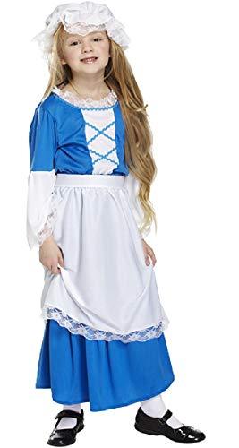 Filles pour Enfants Bleu PAUVRE Tudor Victorien Historique Livre Jour Semaine Costume déguisement - Bleu, 10-12 Years
